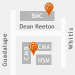 Map to Moody College at 300 W Dean Keeton Street, Austin, TX 78712